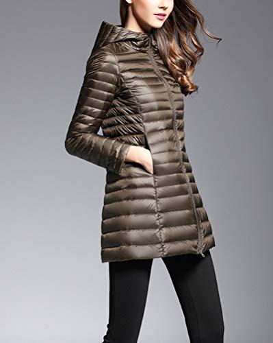 Cappotto Ultraleggeri Giacca Packable Inverno Green Piumino Trapuntato Lunga Suncaya Army Donna Giacche 6Xqwxa4If
