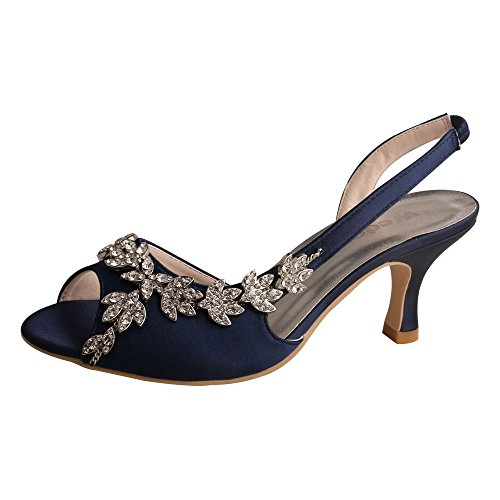 n's Peep Toe Slingback Mid Heel Sandals Rhinestones Satin Evening Prom Wedding Shoes Navy Size 5 ()