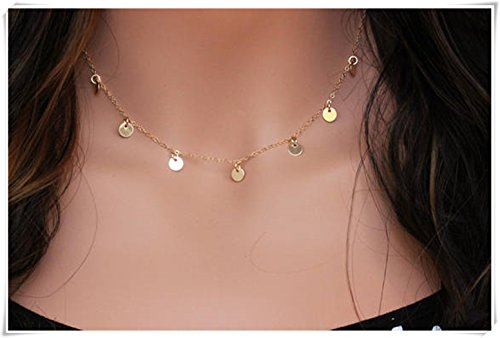 Gold coin Necklace Gold Fill Disc Necklace - Gold Choker Necklace - Gold Statement Necklace