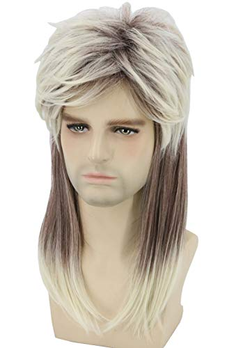 Topcosplay Men Wigs 80s Blonde Mullet Wig Hillbilly Costume Redneck Wig Joe Dirt Wig White Trash Costume Halloween Wig(Ombre Blonde) -