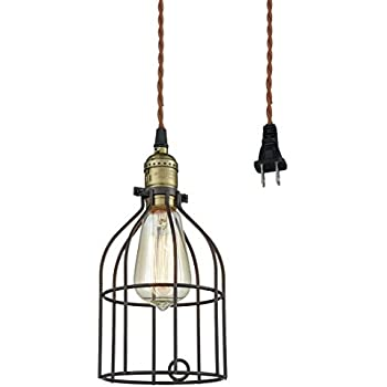 Truelite Industrial Vintage Style Mini Plug In Pendant Light Metal