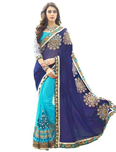 - Saree Sari Designer Indian Dress Bollywood Ethnic Party Traditional (Free Size, Blue)