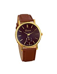 Lowpricenice New Unisex Leather Band Analog Quartz Vogue Wrist Watch Watches Brown