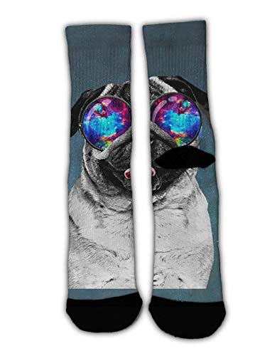 - GLORY ART Christmas Holiday Socks - Galaxy Pug with Cool Glass - Colorful Funny Novelty Winter Socks,Cotton Crew Dress Socks Warm Slippers for Teens Boys Girls