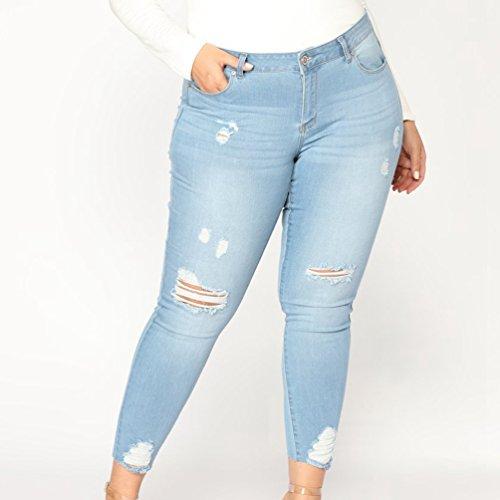 Donna Denim Grandi Pantaloni A Moda Alta Elastico Magro Strappati Yuncai Jeans Chiaro Dimensioni Sciolto Blu Vita In wqXfSx117