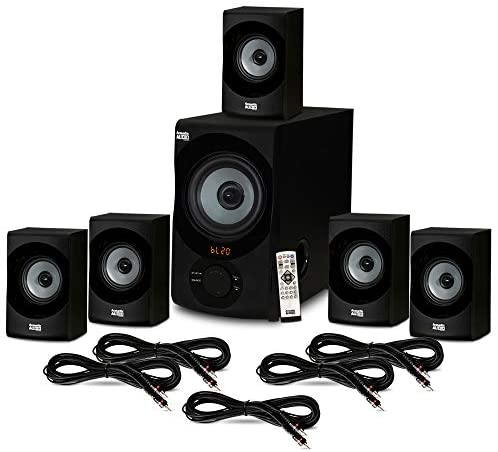 Acoustic Audio AA5172 House Theater 5.1 Bluetooth Speaker System with USB and 5 Extension Cables