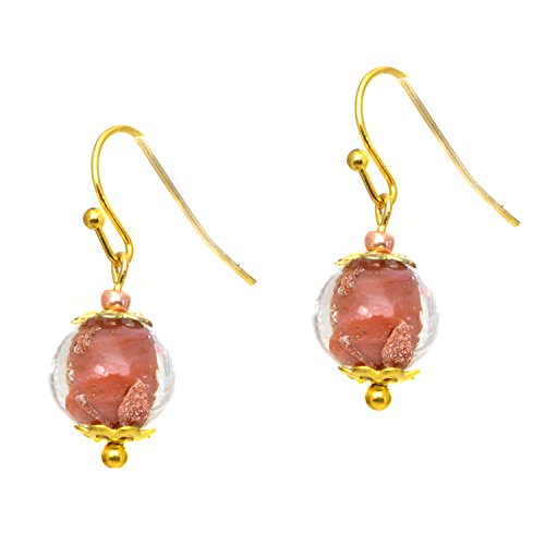 Just Give Me Jewels Genuine Venice Murano Sommerso Aventurina Glass Single Bead Dangle Earrings - Red