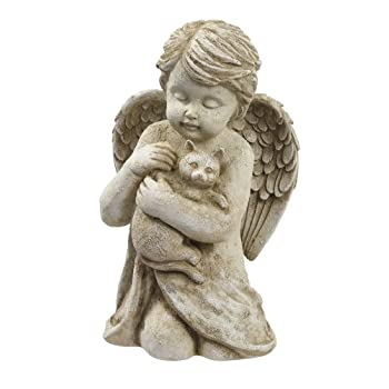 Grasslands Road Cherub with Cat, 7-Inch, Gift Boxed