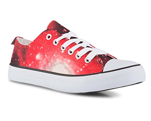 Twisted Women's KIX Lo-Top Galaxy Print Casual Fashion Sneaker - RED, Size 9