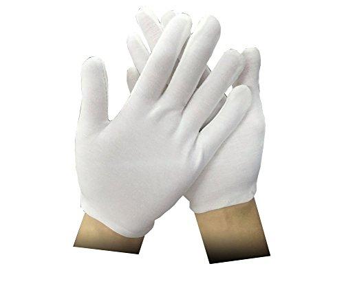 ZJY White Soft Cotton Gloves Lightweight Gloves Etiquette Gloves (CVC cotton) 12 Pairs