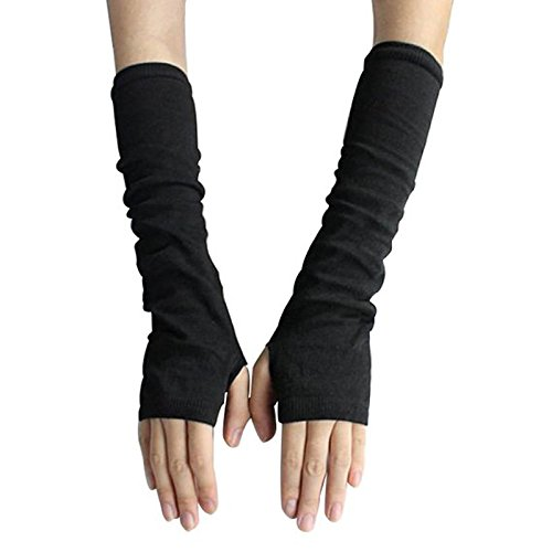 Fingerless Elastic Arm Gloves Winter Warmer Gloves for Ladies Women Girl Color Black