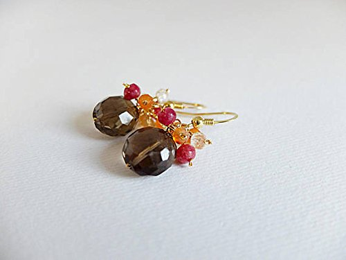Gold filled cluster earrings with large smoky quartz gemstone and cascade of shaded citrine,raspberry red agate,cascading gemstone jewelry 3/4 mm
