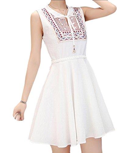 Coolred-femmes Une Ligne Sans Manches Robe Décontractée D'été De La Mode Vintage De Fitness Blanc