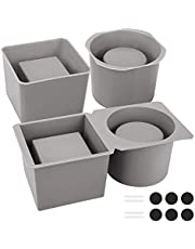 Silicone Molds for Concrete Flower Pots, Globalstore 2 Pack Silicone Mold Square and Round, DIY Double-Layer Design Cement Molds for Concrete with Plastic Frame, Durable PlanterMold Easy to Demold
