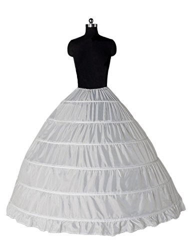 Edress Ball Gown 1 Tier Floor Length Wedding Dress Petticoats and Slips (White)