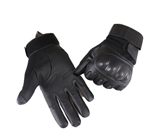 Campstoor Army Military Tactical Gloves Rubber Hard Knuckle Outdoor Gloves for Fit for Cycling Motorcycle Hunting Hiking Camping Powersports Airsoft Paintball (Medium, Black Fullfinger)