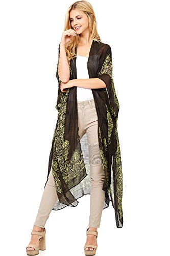 Love Stitch Women's Long Cut Linen Wide Sleeve Cardigan (O/S, Kiwi) (Wide Stitch)