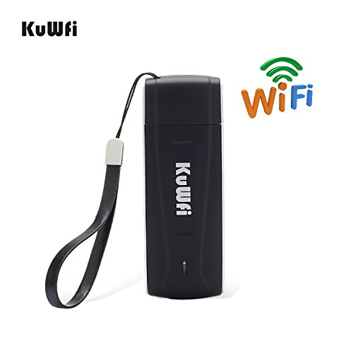 KuWFi Unlocked Pocket 4G LTE USB Modem Router mobile WiFi Router Network Hotspot 3G 4G WiFi Modem Router with SIM Card Slot Support LTE B1/B3/B5 WiFi for Car outdoor Not applicable T-Mobile