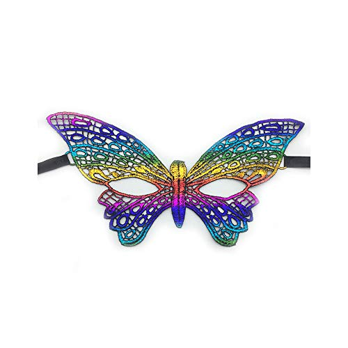 Kercisbeauty Rainbow Lace Masquerade Mask for Women,Halloween Party Costume Ball,Theme Dancing Prom (Another Butterfly) -