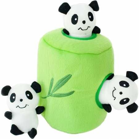 ZippyPaws - Zoo Friends Burrow, Interactive Squeaky Hide and Seek Plush Dog Toy - Panda 'n - Panda Toy Dog