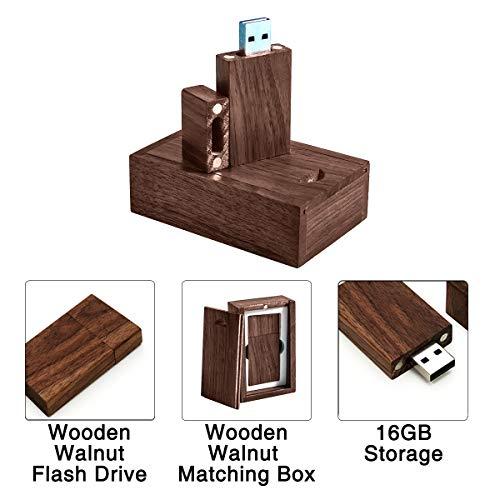 16GB Wooden Walnut Flash Drive with Matching Box USB 2.0