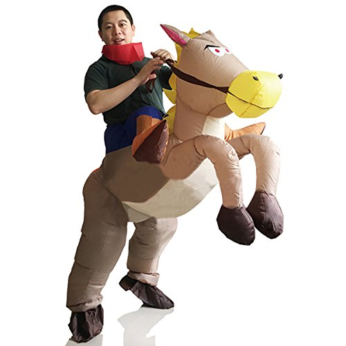 Kid Horse Costumes (Inflatable Rider Costume Fancy Dress Funny Horse Cowboy Funny Suit Mount For Kids Adult)