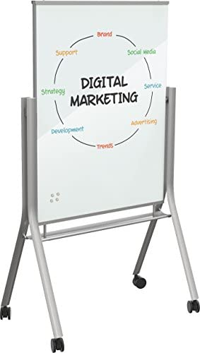 Best Rite Visionary Curve Mobile Magnetic Glass Whiteboard Easel 74955 Office Products Amazon Com