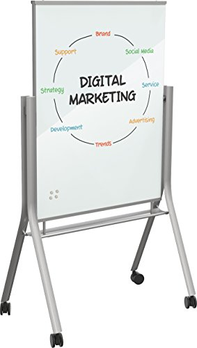 Best-Rite Visionary Curve Mobile Magnetic Glass Whiteboard Easel (74955) by Best-Rite