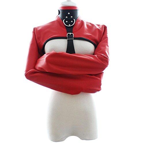 Freebily Women PU Leather Straitjacket Strict Kinky Fancy Straight Jacket Fancy Costume Red One Size by Freebily