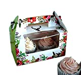 Clear Bakery Pastry Food Grade Flower Garden Design Cardboard 2 Cavity Cupcake Box With Window And Handle Wholesale (50)