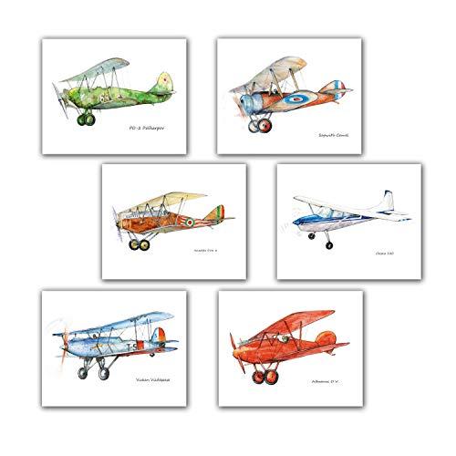 Vintage Planes Boys Nursery Decor Set 6 prints 8x10 inch (Propeller Camel Sopwith)