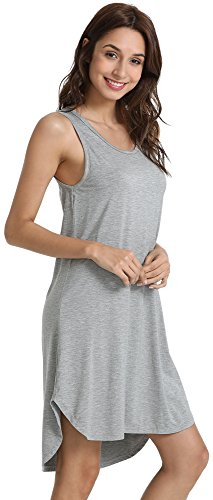 GYS Women's Soft Bamboo Scoop Neck Nightgown, Heather Grey, Small