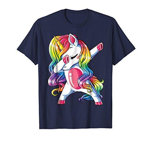 Dabbing Unicorn T shirt Girls Squad Party Rainbow Dab Dance