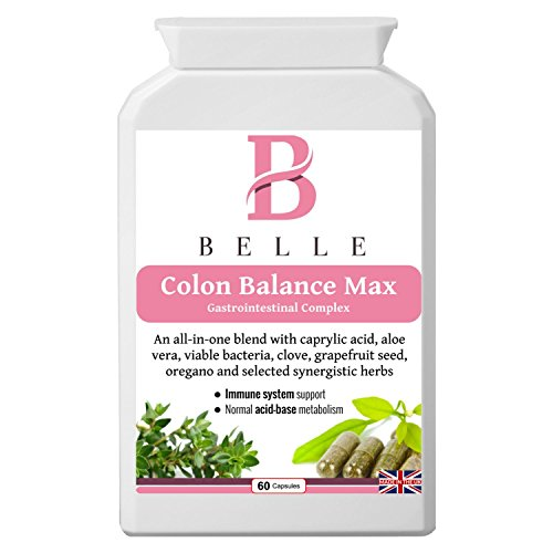 Anti Yeast Formula - Belle® Colon Balance Max supplement - Anti-Candida, healthy gut and detox formula - yeast balance, digestive health, cleanse and detox supplement - 60 capsules