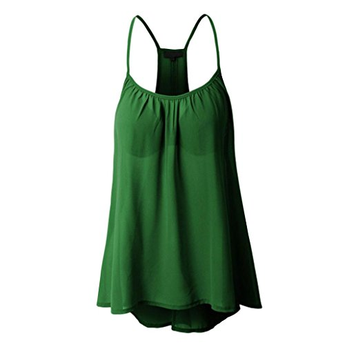 Chiffon Womens Bras - Kangma Women Chiffon Sexy Sleeveless Halterneck Shirt Tank Crop Tops Camisole (12, Green)