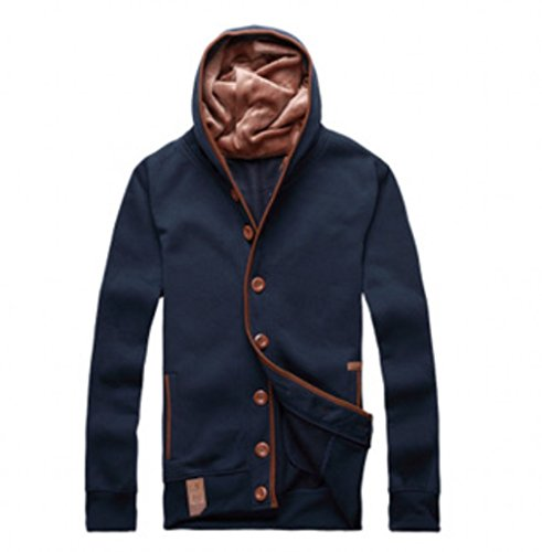 QualityUC Mens Apparel Fashion Clothes American Style Button Up Hoodie Jacket