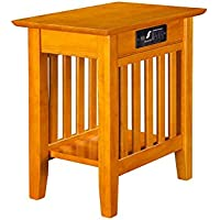 Atlantic Mission Chair Side Table with Charger Caramel Latte