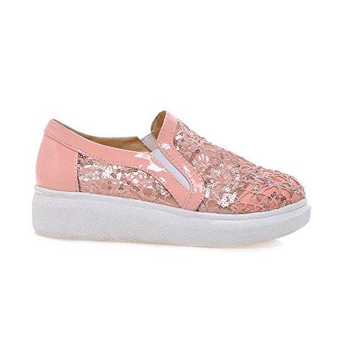 Allhqfashion Dames Lage Hakken Stevige Aantrek Ronde Gesloten Teen Pumps-schoenen Roze