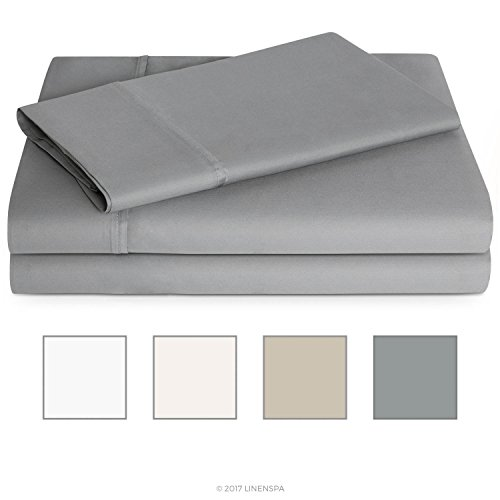 LINENSPA 600 Thread Count Ultra Soft, Deep Pocket Cotton Blend Sheet Set - Twin - Stone - Pillow Top Twin Set