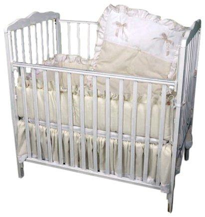 Baby Doll Bedding Pretty Pique Mini Crib/Port-a-Crib Set, Ecru