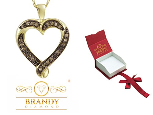 Brandy Diamond Chocolate Brown 18K Yellow Gold Silver Loving You Forever Heart Pendant Necklace 1/4 Ctw.