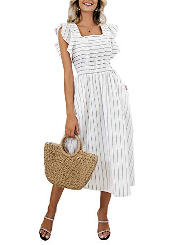 Miessial Women's Striped Linen Long Dress Elegant Ruffle Cap Sleeves Midi Dress White 4/6