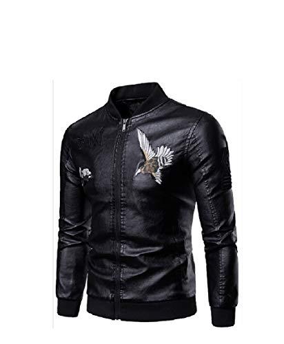 Collar RkBaoye Leisure up Outwear Zip Embroidered PU Stand Black Men aqIaA