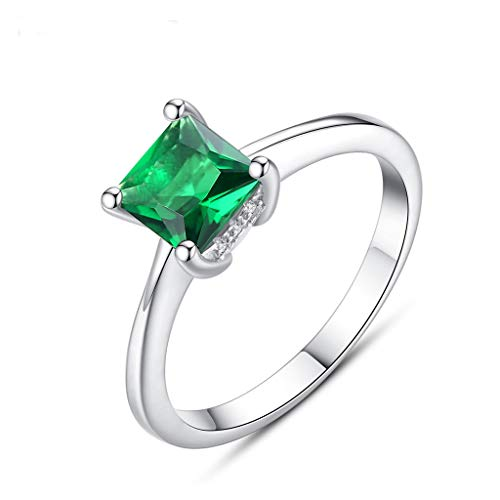 X-SPORT Ring 925 Sterling Silver Plated Emerald Classic Ring Best Gift for Women Girls