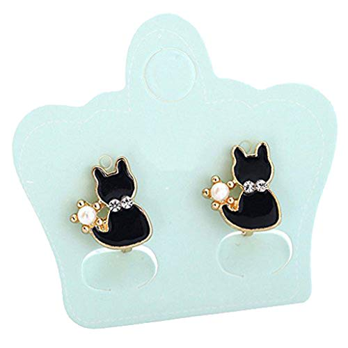 Girl's Sweet and Cute Animals Black Cat Clip on Earrings No Pierced Earrings for Women Teen Girls Gift