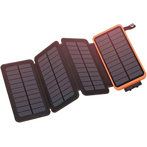 Portable Solar Power Panel - Solar Charger 25000mAh, Hiluckey Outdoor Portable Power Bank with 4 Solar Panels, Fast Charge External Battery Pack with Dual 2.1A Output USB Compatible with Smartphones, Tablets, etc. (Waterproof)