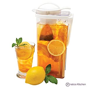 Low Profile Upright/Side Iced Tea Pitcher with Removable Strainer - 2.3 Quarts - Clear with White Top