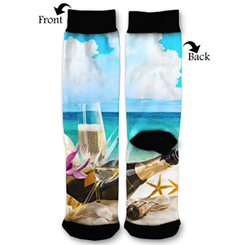 (NGFF Coast Champagne Shells Bottle Stemware Men Women Casual Crazy Funny Athletic Sport Colorful Fancy Novelty Graphic Crew Tube Socks)