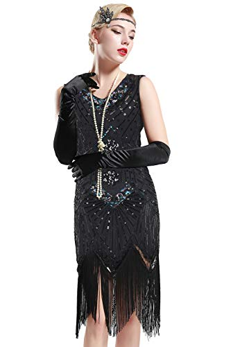 BABEYOND Women's Flapper Dresses 1920s V Neck Beaded Fringed Great Gatsby Dress (Glam Black, XL (Fits 31.5