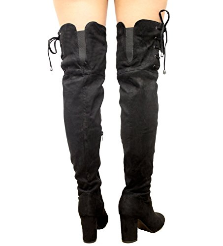 3 lack Over Detail Knee Thigh Shoes Celeb Stretch High Up Boots The Stiletto SAUTE STYLES Ladies 8 Heel Side Lace R67AAx